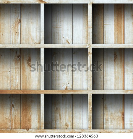 Wood shelf, grunge industrial interior Uneven diffuse lighting version Design component