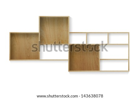 Wood shelf isolated on white background, Objects with clipping paths for design work - stock photo