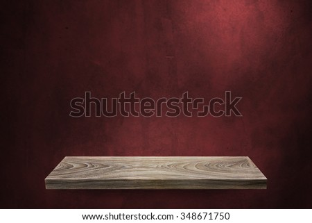 Wood shelf on blank background