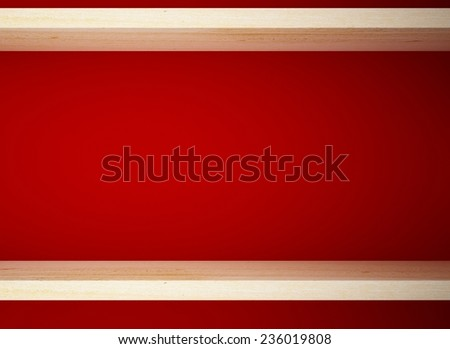 wood shelf on red wall background