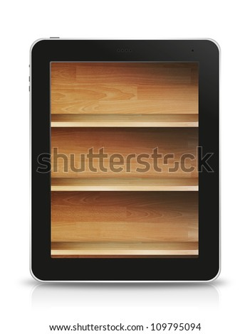 wood shelf screen in tablet pc, isolated on background white - stock photo