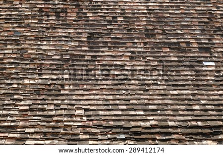 Wood shingles roof - stock photo