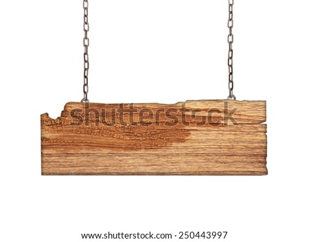 Wood sign from a chain isolated on white