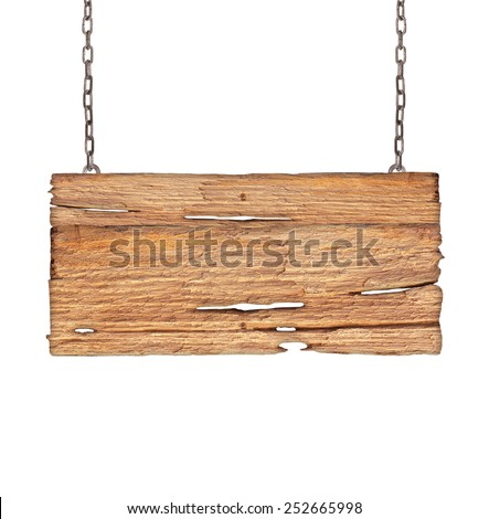 Wood sign from a chain isolated on white background. - stock photo
