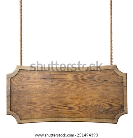 wood sign hanging on rope isolated on white background - stock photo