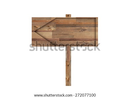 Wood Sign Isolated on White Background