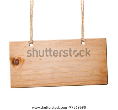 Wood sign isolated on white with clipping path. - stock photo