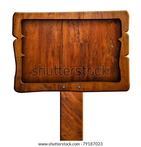 wood sign with clipping path - stock photo