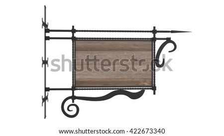 wood sign with forged metal frame isolated 3D illustration