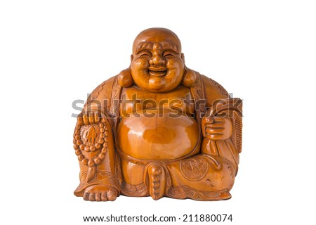 Wood Smiling Buddha with isolated background - stock photo