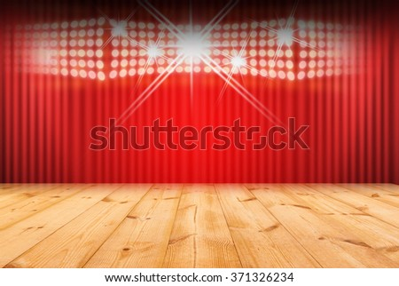 Wood stage on red background - stock photo