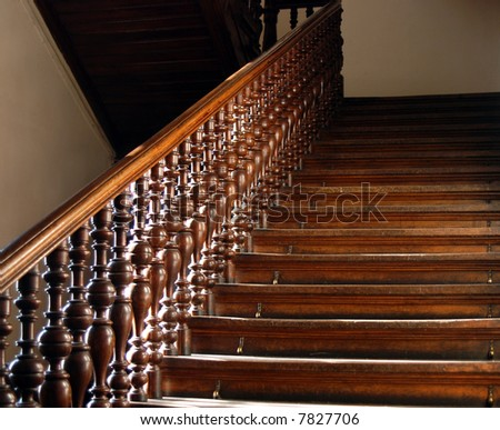 Wood stairs backround - stock photo