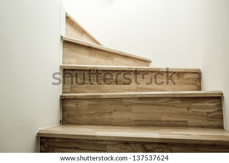 Wood stairs, interior - stock photo