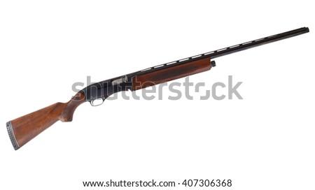 Wood stocked semi automatic shotgun that is isolated on white - stock photo