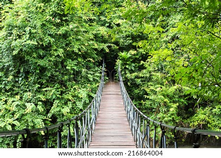 Wood suspension bridge across in the forest - stock photo