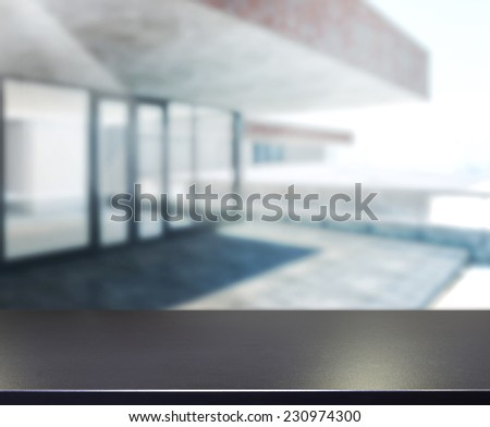 Wood Table Of Background Outdoor Building - stock photo