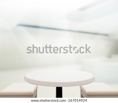 Wood Table Of Blur Background in The Office