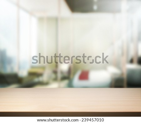 Wood Table  Top Background In Bedroom 3d - stock photo