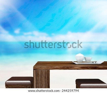 Wood Table  Top Background In Office