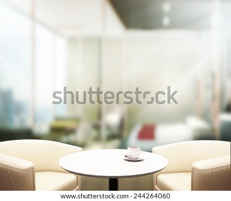 Wood Table  Top Background In Office  - stock photo
