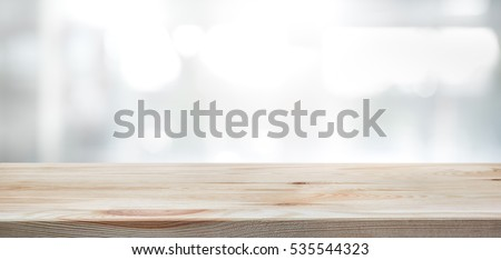 Ordinaire Wood Table Top On Blur Glass Window Wall Building Background.For Montage  Product Display Or