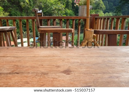 Wood table top on living room outdoors in natural