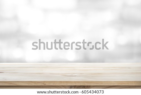 Wood Table Top On White Abstract Background.For Montage Product Display Or  Design Key Visual