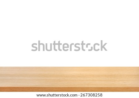 Wood table top on white background  - can be used for display or montage your products - stock photo