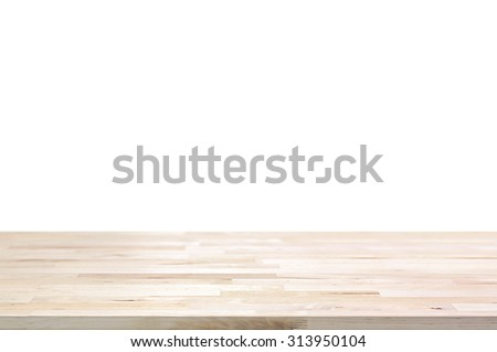 Wood Table Top On White Background   Can Montage Or Display Your Products  On Top