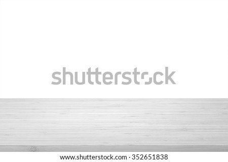 Wood table top texture in light natural white grey color tone isolated on white background: Wooden tabletop textured pattern backdrop in gray  toned colour for interior/ product display     - stock photo
