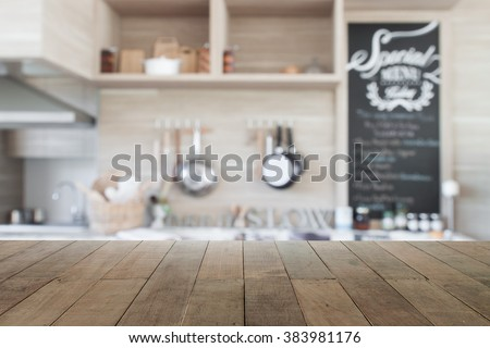 Kitchen Table Top Background wood table top blur kitchen background stock photo 383981176