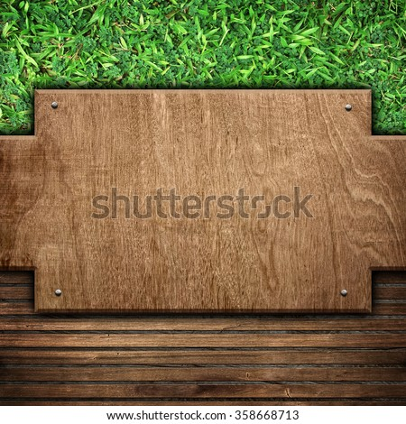 wood template on grass background