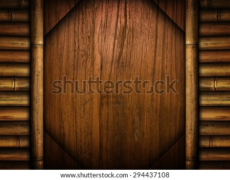 wood template with bamboo - stock photo