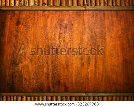 wood template with bamboo frame - stock photo
