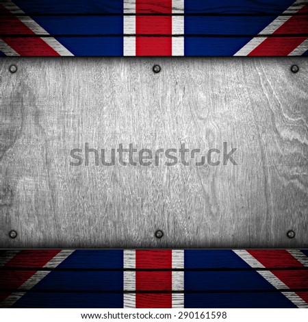 wood template with england flag - stock photo