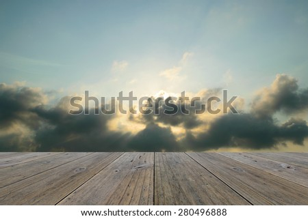 Wood terrace and Blue sky and white cloud - stock photo