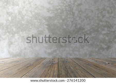 Wood terrace and Polished bare concrete wall interior texture background
