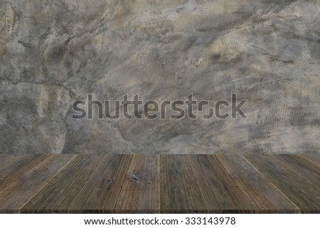 Wood terrace and Polished bare concrete wall texture background surface natural color - stock photo