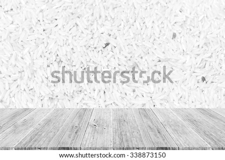 Wood terrace and Rice texture background surface white color