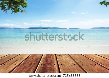 Marvelous Wood Terrace Over Blue Sea And Tropical Island Beach Background For Outdoor  Advertising Mock Up