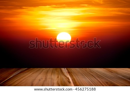 Wood terrace perspective with sun set twilight background  - stock photo