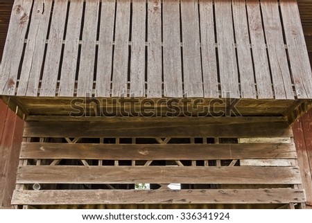 wood terrace Wall background - vintage style - stock photo
