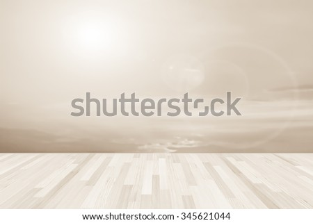 Wood terrace with the blurred background. blurred concept - stock photo