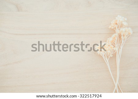 Wood texture background with dried flower decoration with empty space for decoration - stock photo