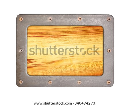 Wood  texture background with steel frame and screws