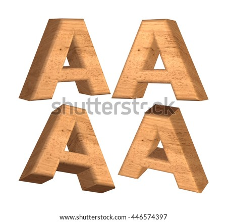 Wood texture capital letter A in 3d rendered on isolated white background.