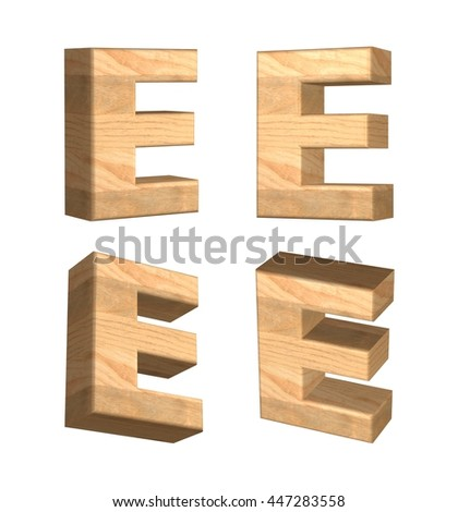 Wood texture caps letter E in 3D rendered on isolated white background.