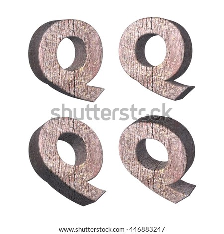 Wood texture caps letter Q in 3D rendered on isolated white background.