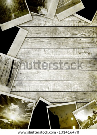 wood texture. Frame with old paper and photos. - stock photo