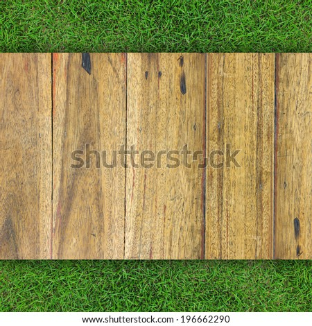 Wood texture on grass